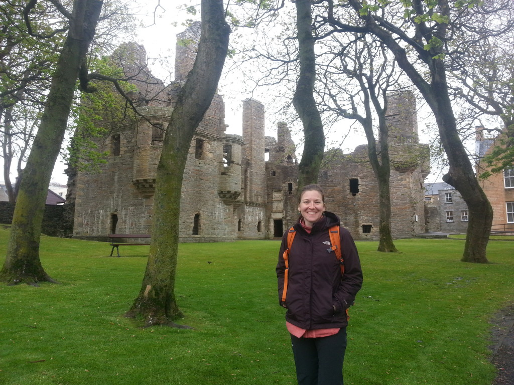 Standing in front of the Earl's palace