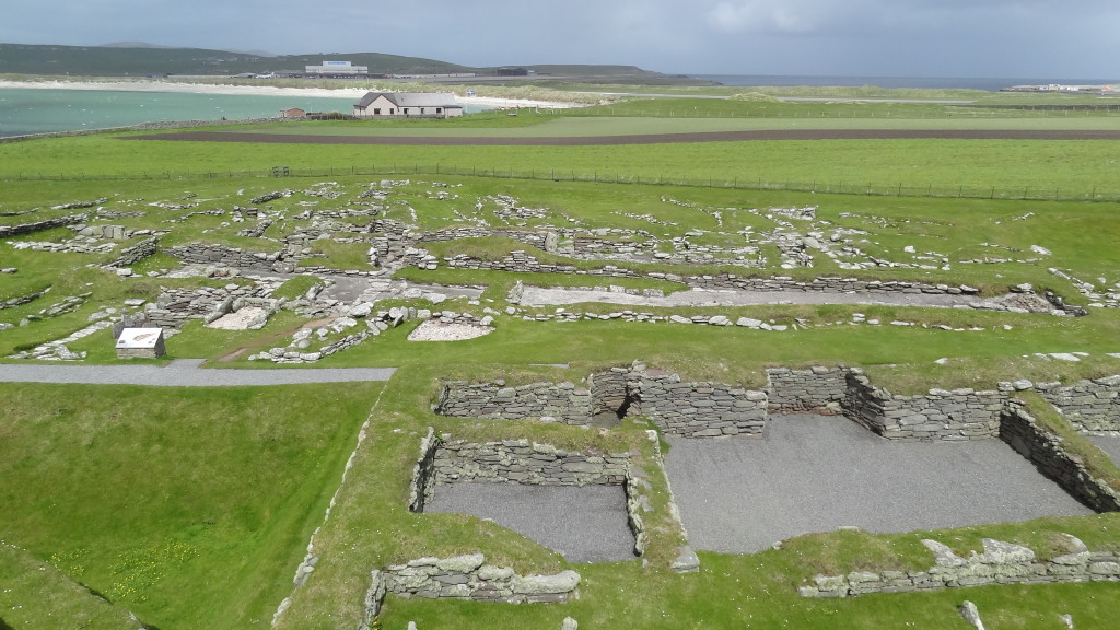view from the top of the tower, overlooking the ruins of the different areas of the site