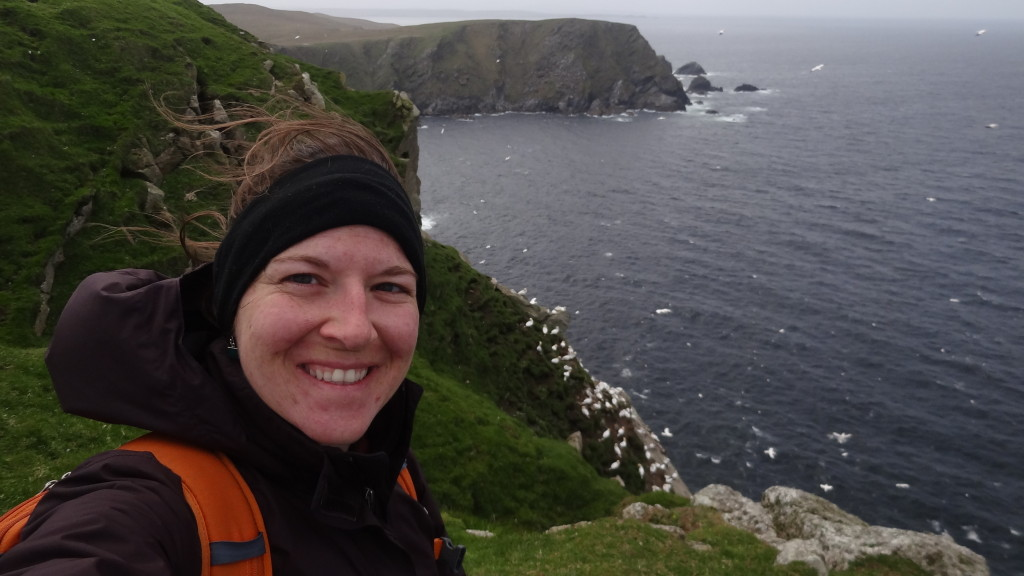 selfie with cliffs and gannets
