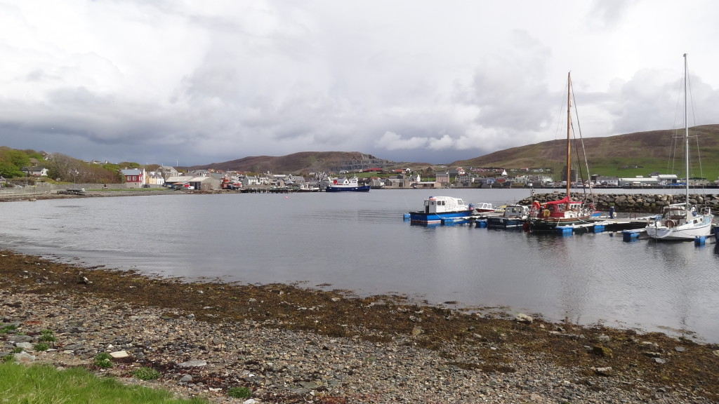 small marina with sail boats in Scalloway