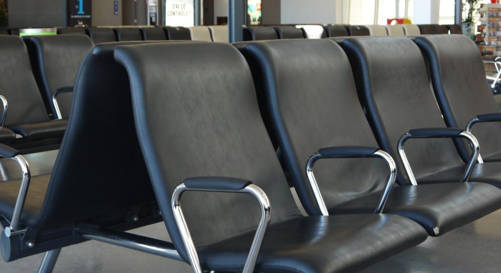 Airport chairs in a waiting room