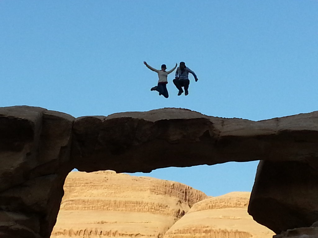 Jumping on Jabal Umm Fruth Rock Bridge, Wadi Rum