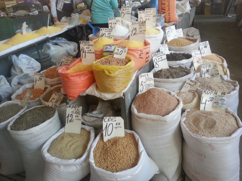 Dried beans and legumes area in Chisinau official market