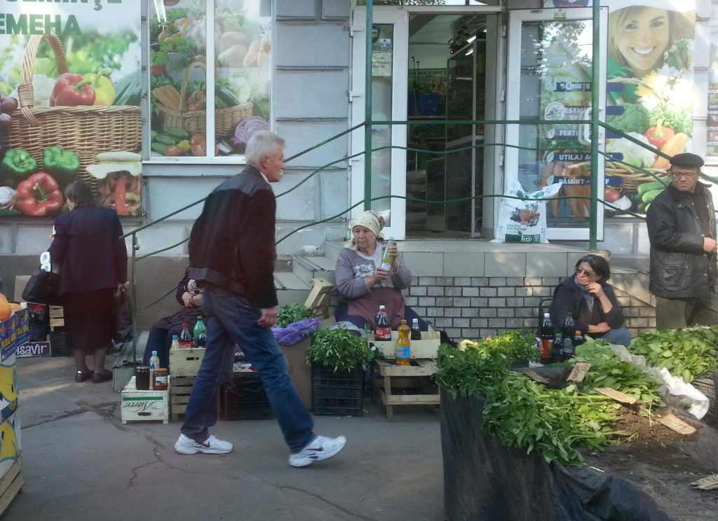 Locals selling stuff on the sidewalk