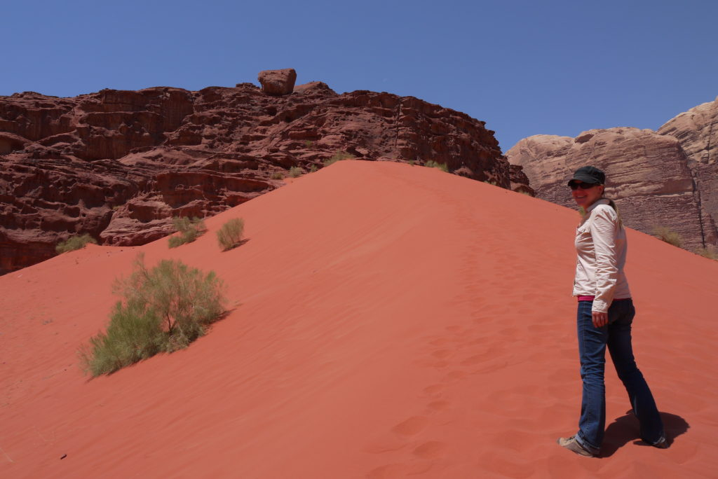 Going up the red sand dunes