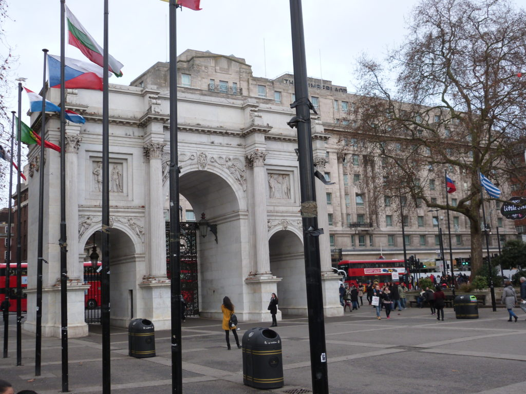 My parents first view of London: Marble Arch and double-decker buses