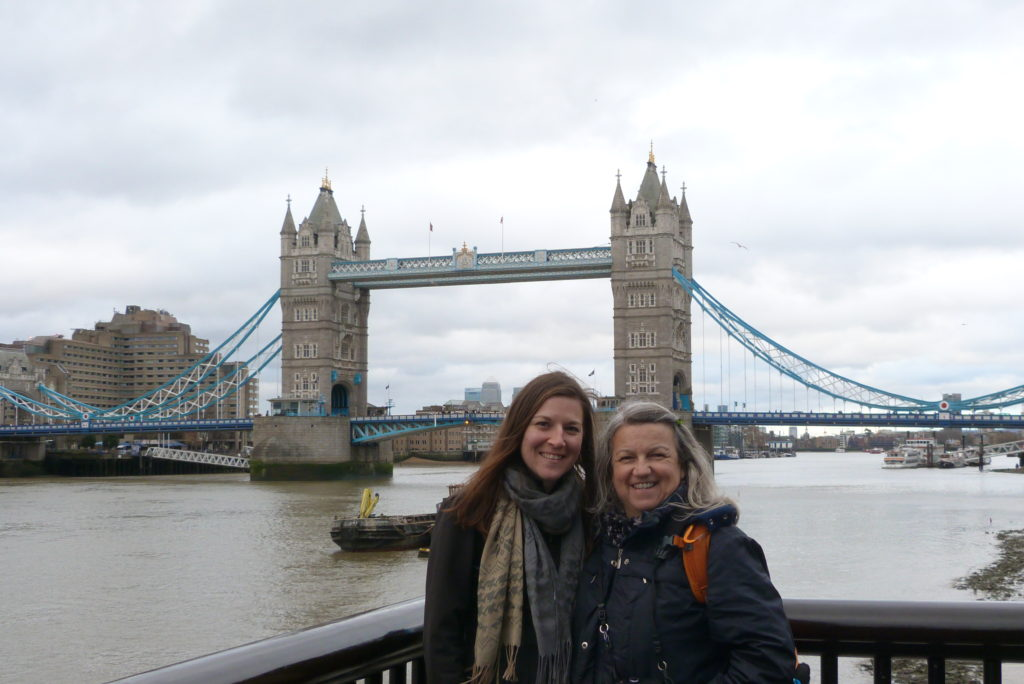 Mother and daughter, with lovely Tower Bridge in the background