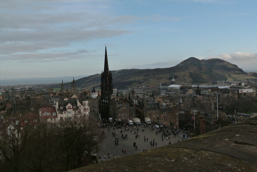 View from Edinburgh Castle, Arthurs seat and Salisbury Crags in the background