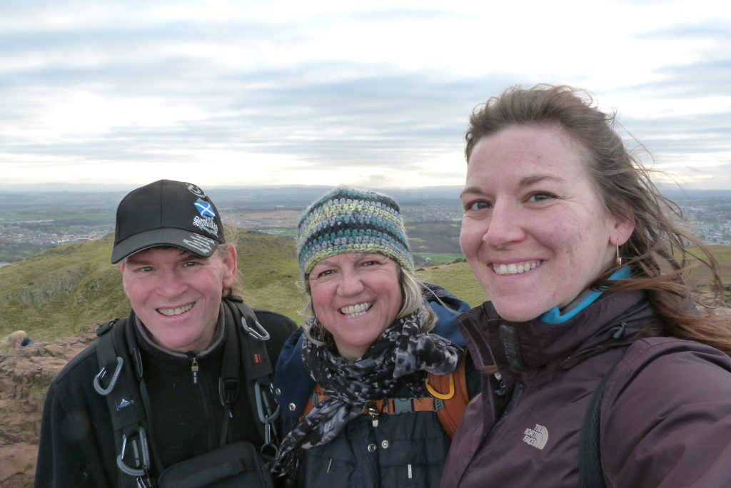 Family selfie on Arthurs Seat. Watery eyes and red faces were due to very cold wind!
