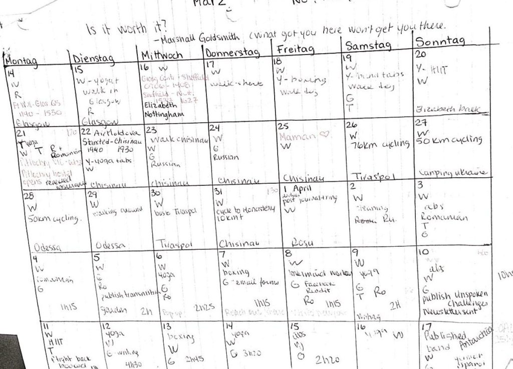 One of my very high-tech calendar, including all my codes and notes