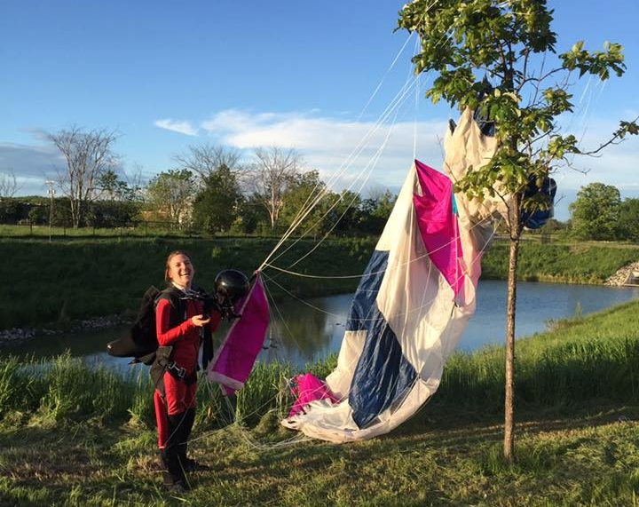 First landing, a bit far from the dropzone, but I managed to avoid all obstacles; the parachute landing in the tree after I touched the ground.